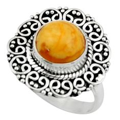 925 silver 4.69cts natural yellow amber bone solitaire ring size 7.5 r52591