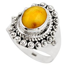 925 silver 3.50cts natural yellow amber bone solitaire ring size 6.5 r53304