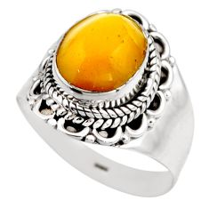 925 silver 4.06cts natural yellow amber bone solitaire ring size 8 r53308