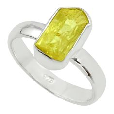 925 silver 5.54cts natural yellow apatite rough solitaire ring size 7.5 r30116