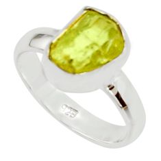 925 silver 5.06cts natural yellow apatite rough solitaire ring size 6 r30197