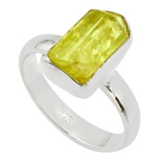 925 silver 5.84cts natural yellow apatite rough solitaire ring size 7 r30104