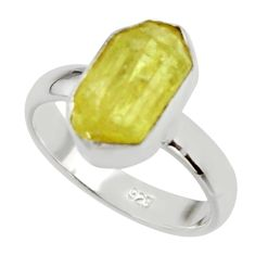 925 silver 5.79cts natural yellow apatite rough solitaire ring size 7 r30119