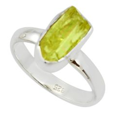 925 silver 5.82cts natural yellow apatite rough solitaire ring size 8 r30108