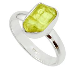 925 silver 4.84cts natural yellow apatite rough solitaire ring size 8 r30200