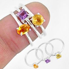 925 silver 3.14cts natural yellow citrine amethyst 3 rings jewelry size 6 r93054