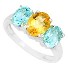 925 silver 5.17cts natural yellow citrine blue topaz oval ring size 7.5 r84098