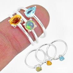 925 silver 2.81cts natural yellow citrine ethiopian opal 3 rings size 6 r93058