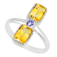 925 silver 3.32cts natural yellow citrine octagan blue iolite ring size 8 r77217