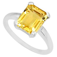 925 silver 3.93cts natural yellow citrine octagan solitaire ring size 9 r83952