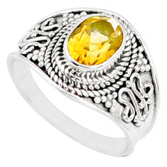 925 silver 2.05cts natural yellow citrine oval solitaire ring size 7.5 r68984