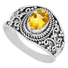 925 silver 1.94cts natural yellow citrine oval solitaire ring size 8 r58623