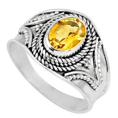 925 silver 1.81cts natural yellow citrine oval solitaire ring size 8 r58632