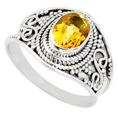 925 silver 2.17cts natural yellow citrine oval solitaire ring size 8 r68999