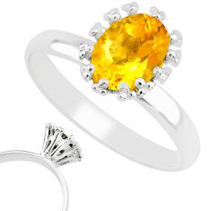 925 silver 2.10cts natural yellow citrine oval solitaire ring size 8 r82799