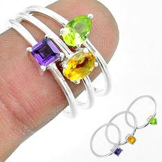 925 silver 2.98cts natural yellow citrine peridot amethyst 3 rings size 9 t51493