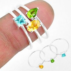 925 silver 2.76cts natural yellow citrine peridot topaz 3 rings size 8 r93110