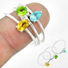 925 silver 3.13cts natural yellow citrine peridot topaz 3 rings size 8.5 t51499