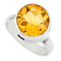 925 silver 6.32cts natural yellow citrine solitaire ring jewelry size 5.5 r48084
