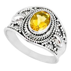 925 silver 2.11cts natural yellow citrine solitaire ring jewelry size 8.5 r68992