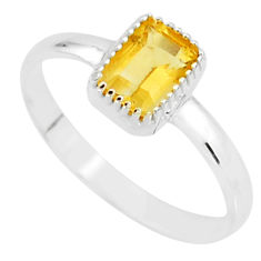 925 silver 1.42cts natural yellow citrine solitaire ring jewelry size 7 t7424