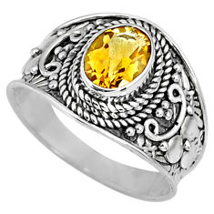 925 silver 1.96cts natural yellow citrine solitaire ring jewelry size 8 r58631