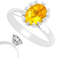 925 silver 2.15cts natural yellow citrine solitaire ring jewelry size 8 r82836