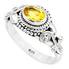 925 silver 1.41cts natural yellow citrine solitaire ring jewelry size 8 r85584