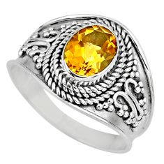 925 silver 1.96cts natural yellow citrine solitaire ring jewelry size 9 r58030