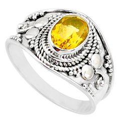 925 silver 2.17cts natural yellow citrine solitaire ring jewelry size 9 r68988