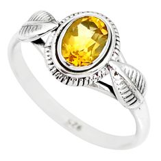 925 silver 1.42cts natural yellow citrine solitaire ring jewelry size 9 r85599