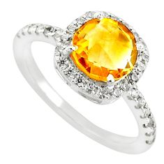 925 silver 4.20cts natural yellow citrine white zircon ring size 7 r71231