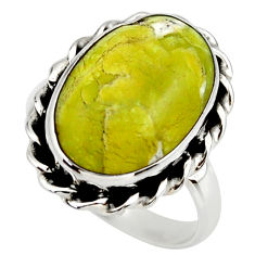 925 silver 12.47cts natural yellow lizardite oval solitaire ring size 8.5 r28773