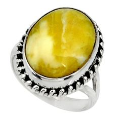 925 silver 14.08cts natural yellow lizardite oval solitaire ring size 8 r28396