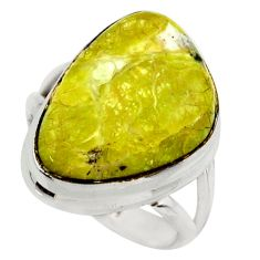 925 silver 13.71cts natural yellow lizardite pear solitaire ring size 7 r28779