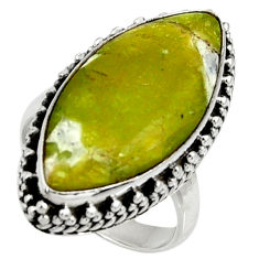 925 silver 14.88cts natural yellow lizardite solitaire ring size 6.5 r28399