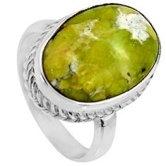 925 silver 13.18cts natural yellow lizardite solitaire ring size 8 r28384