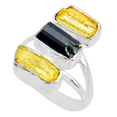 925 silver 11.57cts natural yellow scapolite tourmaline raw ring size 8 r73670