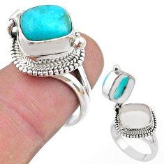 925 silver 5.62cts peruvian amazonite poison box ring jewelry size 7 t45420
