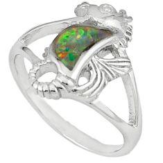 925 silver pink australian opal (lab) enamel seahorse ring size 9 c15791