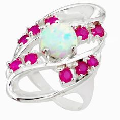 925 silver 4.63cts pink australian opal (lab) red ruby ring size 7 a89484 c24402