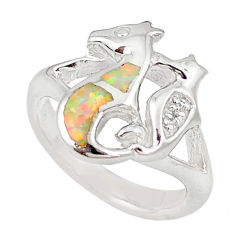 925 silver pink australian opal (lab) seahorse ring size 6.5 a73450 c24637