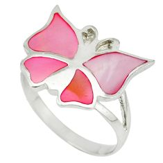 925 silver pink blister pearl enamel butterfly ring size 6 a39950 c13296