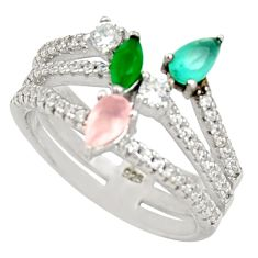 925 silver 3.14cts pink chalcedony aqua chalcedony ring size 5.5 c9144