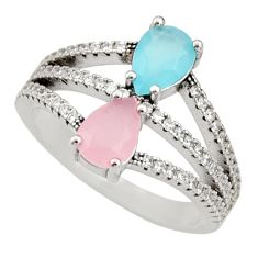 925 silver 3.22cts pink chalcedony aqua chalcedony ring size 7 c9136