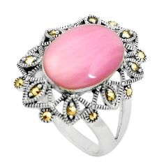 925 silver 7.97cts pink pearl marcasite solitaire ring jewelry size 9 c17382