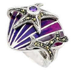 925 silver purple amethyst quartz round star fish ring jewelry size 6.5 c15981