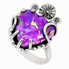 925 silver 11.74cts purple copper turquoise heart solitaire ring size 6 r67509