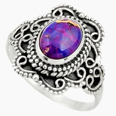 925 silver 3.01cts purple copper turquoise oval solitaire ring size 8.5 r26973
