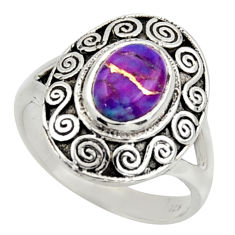 925 silver 2.26cts purple copper turquoise oval solitaire ring size 6.5 r40925